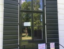 dörrparti, linoljemålning